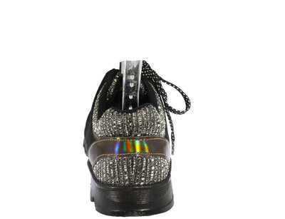 Heavenly01 Black Holographic Sneaker Flat - Wholesale Fashion Shoes