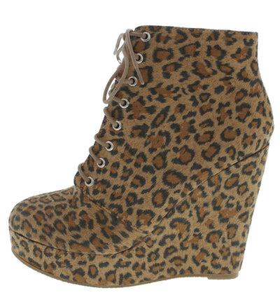Hedy3255 Leopard Lace Up Wedge Boot - Wholesale Fashion Shoes