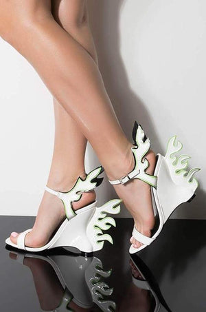 e435c9464 Hell Flame White Open Toe Ankle Strap Flame Angled Heel - Wholesale Fashion  Shoes