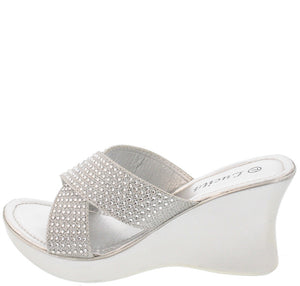 dafa7ac796786 Hh03yy Silver Glitter Rhinestone Slide on Wedge - Wholesale Fashion Shoes