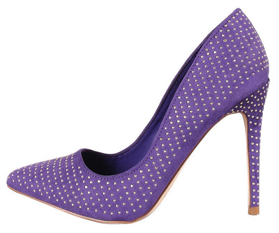 Hibscus10s Ultra Violet Studded Pointed Toe Stiletto Heel - Wholesale Fashion Shoes