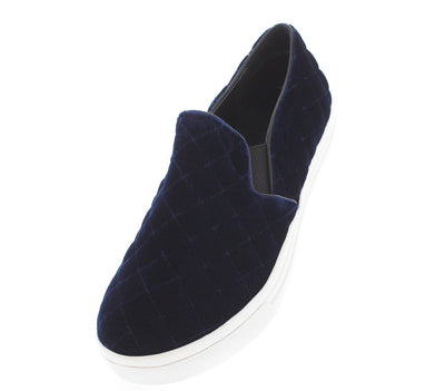 Highness Navy Quilted Velvet Flat - Wholesale Fashion Shoes
