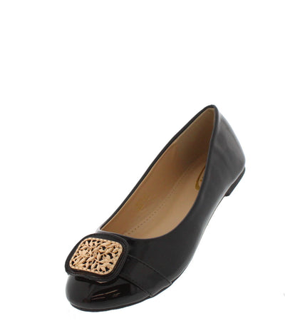 Hope02 Black Square Toe Emblem Flat - Wholesale Fashion Shoes