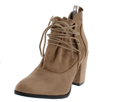 Hope Beige Slouch Lace Up Chunky Block Heel Ankle Boot - Wholesale Fashion Shoes