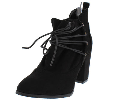Hope Black Slouch Lace Up Chunky Block Heel Ankle Boot - Wholesale Fashion Shoes