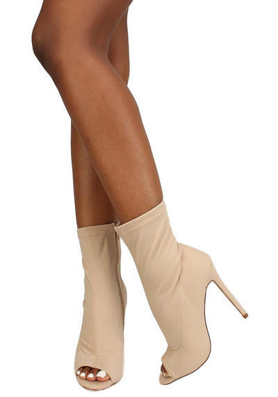 Hudson Taupe Peep Toe Sock Fit Stiletto Ankle Boot - Wholesale Fashion Shoes