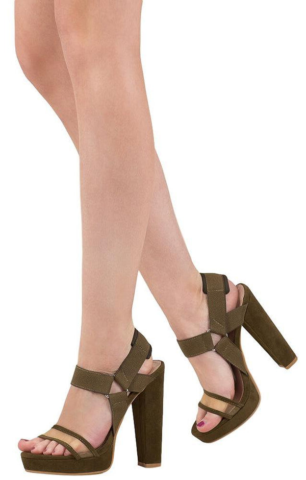 1a24d6362 Hunter Olive Open Toe Slingback Low Platform Heel