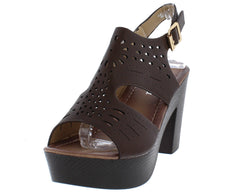 HW3106 BROWN LASER CUT WOOD PLATFORM CHUNKY HEEL - Wholesale Fashion Shoes