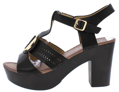 Hw3107 Black Gold Medallion T-strap Chunky Platform Heel - Wholesale Fashion Shoes