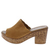 Norma273 Camel Perforated Open Toe Chunky Cork Heel - Wholesale Fashion Shoes