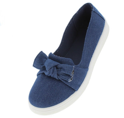 Habit40s Blue Denim Butterfly Knot Sneaker Flat - Wholesale Fashion Shoes