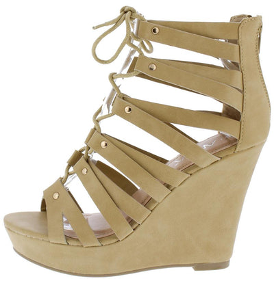 Hailey8 Beige Pu Open Toe Strappy Lace Up Platform Wedge - Wholesale Fashion Shoes