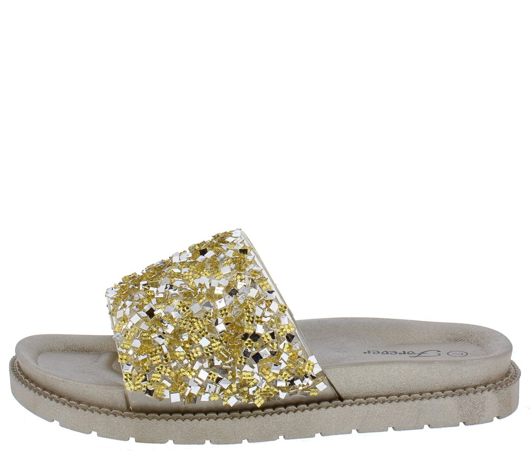 20adb80e7bc Hall18 Gold Sparkle Bead Open Toe Mule Slide Sandal - Wholesale Fashion  Shoes