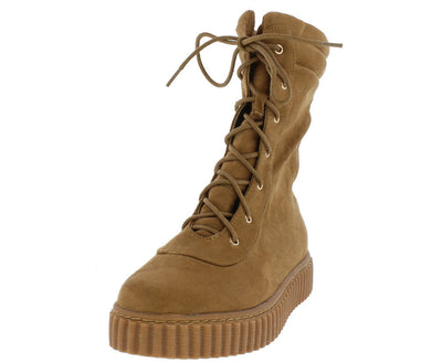 Swaggy Camel Suede Lace Up Hiking Boot - Wholesale Fashion Shoes