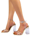 Halo Rose Gold Open Toe Cross Back Ankle Strap Lucite Heel - Wholesale Fashion Shoes