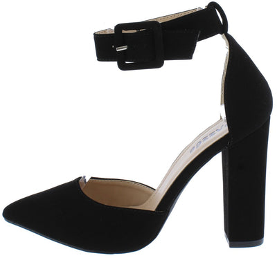 Hana02 Black Pointed Toe Ankle Strap DOrsay Pump Heel - Wholesale Fashion Shoes
