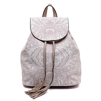 Emily133 Pink Print Cinch Tassel Back Zip Backpack Handbag - Wholesale Fashion Shoes