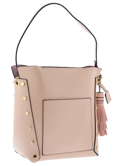 Mackenzie206 Pink Rivet Side Panel Single Strap Bucket Handbag - Wholesale Fashion Shoes