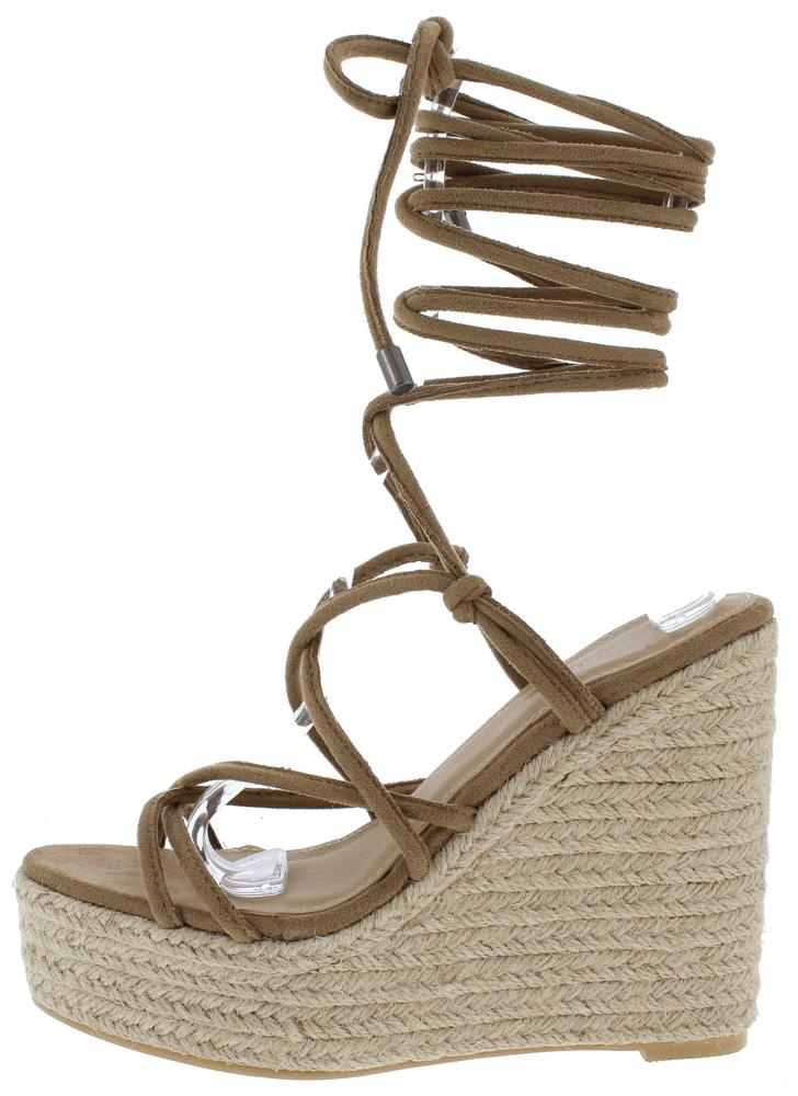 282f71f7ac1 Hanna Mocha Cross Strap Open Toe Ankle Wrap Espadrille Wedge