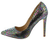 Hannah Black Holographic Snake Pointed Toe Stiletto Heel - Wholesale Fashion Shoes
