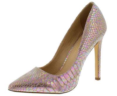 Hannah Blush Holographic Snake Pointed Toe Stiletto Heel - Wholesale Fashion Shoes