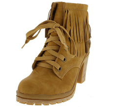 PIPER9 YELLOW DISTRESSED LACE UP DUAL FRINGE LUG SOLE BOOT - Wholesale Fashion Shoes