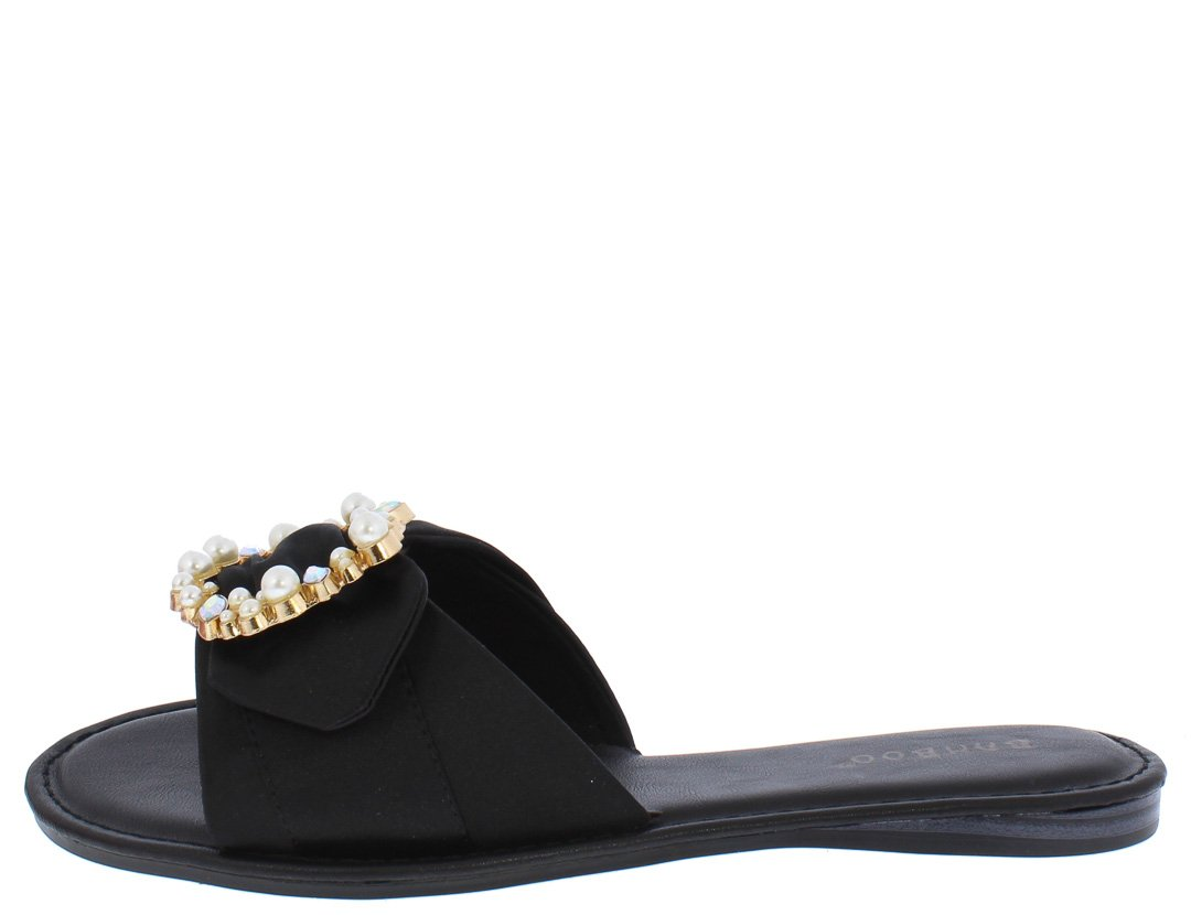 2fad0760d6ca Happiness49m Black Satin Embellished Buckle Mule Sandal - Wholesale Fashion  Shoes