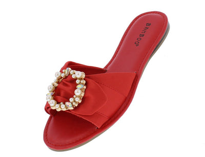 Happiness49m Red Satin Embellished Buckle Mule Sandal - Wholesale Fashion Shoes