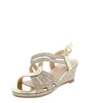 Happy09k Champagne Open Toe Cross Strappy Kids Wedge - Wholesale Fashion Shoes