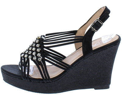 Happy32 Black Woven Strappy Rhinestone Open Toe Wedge - Wholesale Fashion Shoes