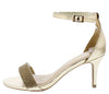 Harleen80m Gold Rhinestone Open Toe Ankle Strap Short Heel - Wholesale Fashion Shoes