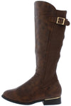 Harmonie1 Brown Knit Buckle Knee High Boot - Wholesale Fashion Shoes