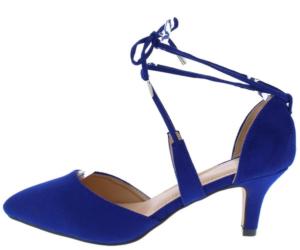 bc6eee5569a Ariana062 Royal Blue Suede Pointed Toe Ankle Tie Dorsay Short Heel
