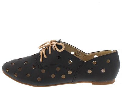Harper2 Black Perforated Oxford Flat - Wholesale Fashion Shoes