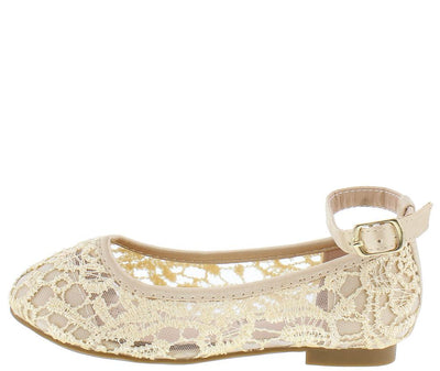 Harperll4 Nude Lace Ankle Strap Round Toe Kids Flat - Wholesale Fashion Shoes