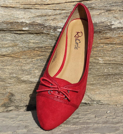 Harriet Red Pointed Toe Lace Up Ballet Flat - Wholesale Fashion Shoes