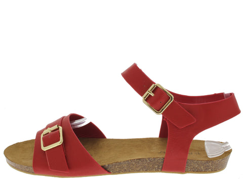 HARTLEY06 RED BUCKLE CORK SANDAL - Wholesale Fashion Shoes - 1