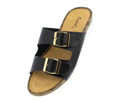 Haven04 Black Pu Slide on Buckle Cork Rubber Sandal - Wholesale Fashion Shoes
