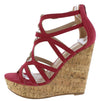 Hawkins Plum Caged Strappy Open Toe Platform Cork Wedge - Wholesale Fashion Shoes