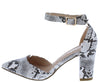 Hazel02 White Snake Women's Heel - Wholesale Fashion Shoes