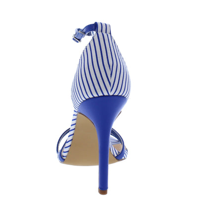 Emily106 Blue Pinstripe Cross Strap Open Toe Stiletto Heel - Wholesale Fashion Shoes
