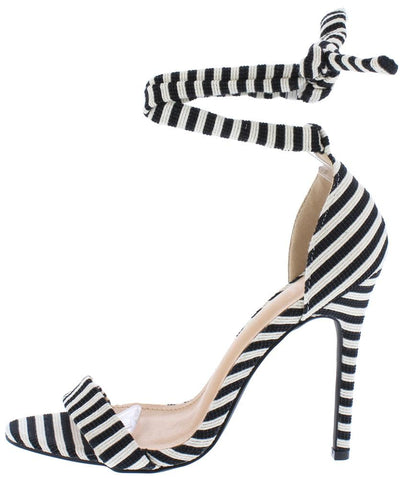 Deanna280 Black Striped Open Toe Ankle Wrap Stiletto Heel - Wholesale Fashion Shoes