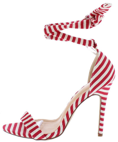 Deanna280 Red Striped Open Toe Ankle Wrap Stiletto Heel - Wholesale Fashion Shoes