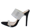Noemi197 Black Rhinestone Embellished Mule Stiletto Heel - Wholesale Fashion Shoes