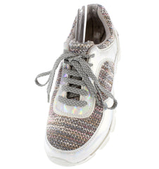 Heavenly01 Grey Holographic Sneaker Flat - Wholesale Fashion Shoes