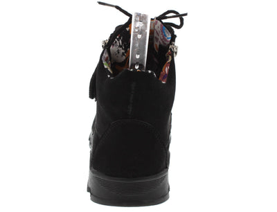 Heavenly07 Black Lace Up Sneaker Flat - Wholesale Fashion Shoes