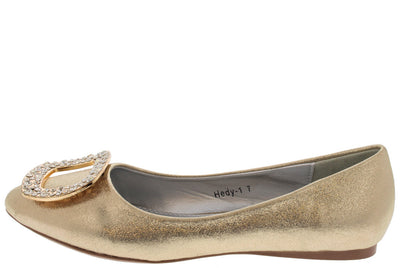Hedy1 Gold Buckle Almond Toe Flat - Wholesale Fashion Shoes