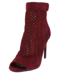 HEIDI8 WINE OPEN TOE MULTI CUT OUT HEEL - Wholesale Fashion Shoes