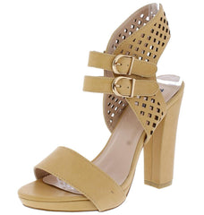 HELEN01 TAN OPEN TOE DUAL BUCKLE PERFORATED CUT OUT HEEL - Wholesale Fashion Shoes