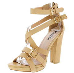 HELEN04 TAN OPEN TOE MULTI BUCKLE STRAP BLOCK HEEL - Wholesale Fashion Shoes